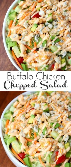 Buffalo Chicken Chopped Salad - Happy-Go-Lucky #TimelessPizza AD