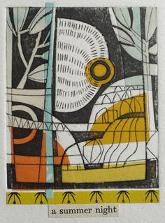 Amy Chapman Collagraph print over collage