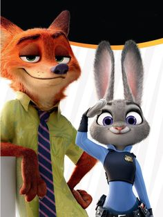 Welcome to Zootopia! Judy and Nick as Hopps and Wilde as Judy Hopps and Nick Wilde. Judy Hopps is a bunny rabbit and Nick Wilde is a fox. Disney Jr, Disney Junior, Disney Pixar, Disney And Dreamworks, Disney Love, Disney Magic, Walt Disney, Zootopia 2016, Disney Animation
