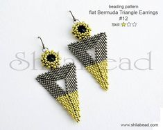 Seed Bead Earrings, Beaded Earrings, Seed Beads, Beaded Jewellery, Weaving Patterns, Bead Patterns, Beaded Jewelry Patterns, Triangle Earrings, Bead Weaving