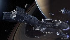 ExoCarrier Resolute and fleet at Saturn, reimagined by D.M. Phoenix, 3DCG (note: his personal website, the Phoenixium, is unpinnable)