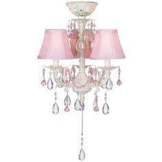 Pretty-in-Pink Pull-Chain Ceiling Fan Light Kit ~~ It's a chandelier for a ceiling fan!  This would be so cute in Brylen's room :)