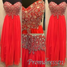 #promdress01 #promdress, 2015 new sesign coral chiffon strapless beaded sweetheart long prom dress for teens, bridesmaid dress, ball gown -> www.promdress01.c... #coniefox #2016prom