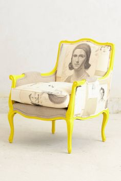 Maybe not in a yellow this bright but the fabric + color pop + antique style is awesome Antwerp Chair - anthropologie.com