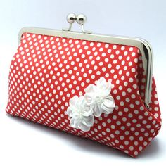 Grand Opening SALE - White Polka Dots in Red with white ribbon flowers - Large…