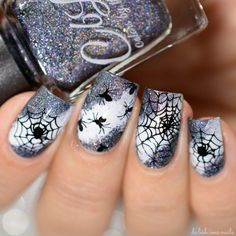 halloween nails - Halloween Nail Art Design using Winstonia stamping plate and Empty Heart by Colo. Fancy Nails, Diy Nails, Cute Nails, Pretty Nails, Glitter Nails, Halloween Nail Designs, Halloween Nail Art, Cute Nail Designs, Halloween Spider