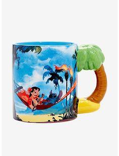 Disney Lilo & Stich Hammock Figural Handle Mug Cute Stitch, Lilo And Stitch, Ohana, Glitter Water Bottles, Coconuts Beach, Disney Coffee Mugs, Disney Cups, Cute Cartoon Drawings, Roller Coaster Ride