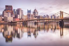 Pittsburgh Skyline Near Sunset From The by MikeBailyPhotography