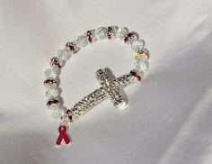 Breast Cancer Awareness Rhinestone Sideways by rosepetalsjewelry, $20.00