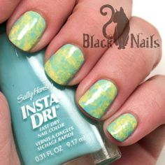 Yellow & Blue Plastic Bag Marble Nails
