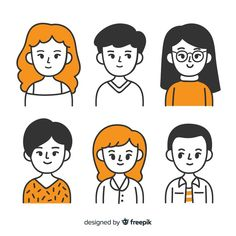 Cartoon People, Cartoon Faces, Cartoon Art Styles, Simple Cartoon Characters, People Illustration, Book Illustration, Character Illustration, Kawaii Doodles, Cute Doodles