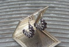 Purple and Gray Semicircular Beaded Earrings by CatchTheBeads