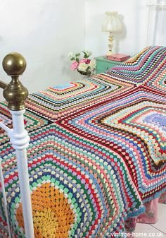 Vintage Home - Large and Colourful Crochet Throw: www.vintage-home.co.uk