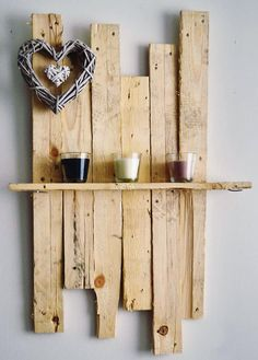 simple shelf made with used wood pallets