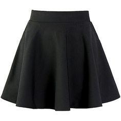 Neeson Womens Basic Versatile Stretchy Flared Short Skater Skirt (23 PEN) ❤ liked on Polyvore featuring skirts, flare skirt, short circle skirt, short skirts, wide skirt and flare short skirt
