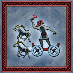 Thor rides through the skies in his wagon drawn by the two goats Tooth Gnasher and Tooth Grinder. Loki, Thor, Viking Myths, Pagan Art, Nordic Art, Asatru, Viking Tattoos, Anglo Saxon, Norse Mythology