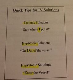 Quick tips for IV solutions