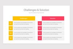 Challenges and Solutions Google Slide Diagrams is a professional Collection shapes design and pre-designed template that you can download and use in your Google Slide. The template contains 11 slides you can easily change colors, themes, text, and shape sizes with formatting and design options available in Google Slide. Shape Design, Keynote Template, Lorem Ipsum, Color Change, Challenges, Diagram, Shapes, Templates, Colors