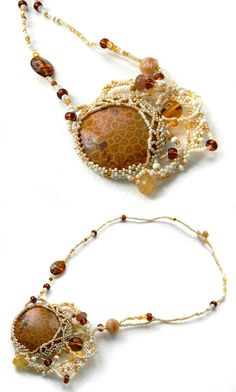 Fossil coral necklace  freeform beaded pendant  by Anabel27shop