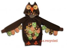 Owl hood costume  http://psrecycled.com/blog/category/sweaters/