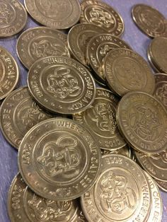 Chuck E. Cheese tokens for Easter egg filling. Double use and no sugar. Win win!