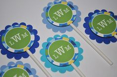 12 Boy's 1st Birthday Party Cupcake Toppers  by sosweetpartyshop, $10.00
