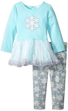 Youngland Little Girls' Snowflake Applique Dress with Snowflake Legging, Aqua/Grey, 2T