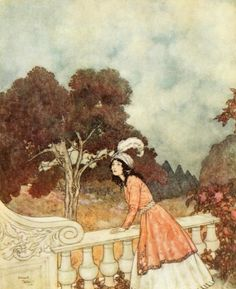 'The unhappy Fatima called up to her -Anne, Sister Anne, do you see anyone coming?' 'From 'The Sleeping Beauty and Other Fairy Tales' illustration by Edmund Dulac. Published 1910 by Hodder & Stoughton archive.org