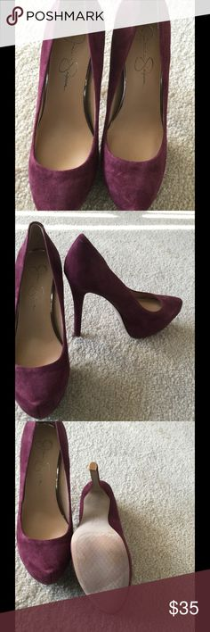 """Wine suede heels Size 8, however I wear a narrow 7.5 and I can't fit these, so I am listing as size 7, heel 5.25"""" with 1.75"""" hidden platform Jessica Simpson Shoes Platforms"""