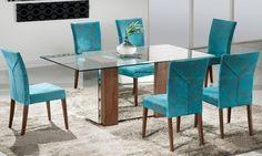 Conjunto para Sala de Jantar com Mesa e 6 Cadeiras Canela/Magnólia Liso Turquesa - Matrezan