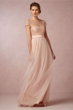 Vintage Bateau Neck Illusion Cap Sleeved Lace Blush Tulle Bridesmaid Dress