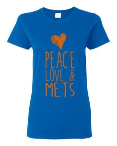 PEACE Love And Mets Ladies Style Mets Baseball by HarplynDesigns