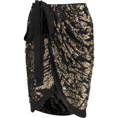 Isabel Marant Felmira embellished silk-chiffon wrap skirt ($504) ❤ liked on Polyvore featuring skirts, black, embellished skirt, black skirt, isabel marant, wrap skirt and black wrap skirt