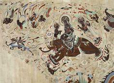 莫高窟第329窟 西壁龕頂北側 初唐 乘象入胎是描寫佛祖釋迦牟尼降生的故事,是佛傳故事畫中最具代表性的題材之一,在北魏、北周、隋、唐、五代的敦煌壁畫均可見。佛傳故事是記述釋迦牟尼由出生、成人、出家、苦修、悟道、說法乃至涅槃的種種事跡。  第329窟的乘象入胎圖被認為是敦煌壁畫同類題材中最具感染力的一幅。圖中菩薩雲髻寶冠,坐於象背,上身袒裸,侍從前後相隨。大象腳踏蓮花,由天人承托,在天空奔騰。象前有乘龍仙人帶引,後有天人護衛。成群伎樂飛天奏樂散花,披巾飄帶迎風飛舞,畫面被裝飾得五彩繽紛。  此圖表現摩耶夫人夜夢菩薩乘白象前來投胎的情節。古印度迦毗羅衛國國王淨飯王和王后摩耶夫人多年膝下無子,常為無人繼承王位而煩惱。一天,摩耶夫人在夢中看見空中有菩薩乘白象而來,從她的右脅進入腹中。摩耶夫人從夢中驚醒後,召相師占夢,知有聖神降胎。其後,摩耶夫人在藍毗尼園從其右脅誕下悉達多,他便是佛教的創始人釋迦牟尼。