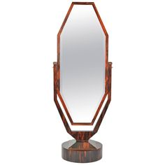 Free Standing Art Deco Cheval Mirror in Palisander Attributed to Maurice Dufrene 1