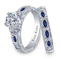 Kirk Kara  Dahlia Collection Blue Sapphire Engraved Engagement Set