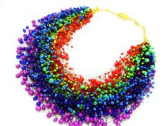 Rainbow multicolor airy necklace, crochet, beading, gift for her, multistrand, colorful by GlazzenkaStore on Etsy https://www.etsy.com/listing/219570202/rainbow-multicolor-airy-necklace-crochet