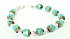 Ladies Bracelet Green Faceted Beads Silver by jollyjulesjewellery