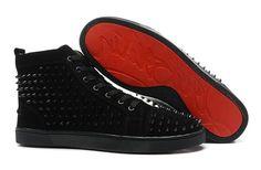 hristian Louboutin Louis Black Spikes Flat Mens High Top Suede Sneakers Black