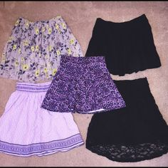 SKIRT BUNDLE!!! 5 skirts for price of 1! top right black skirt is zip up! the rest all have an elastic waist! all size medium and fit relatively any size! all worn once and in perfect condition! Free People Skirts Skirt Sets