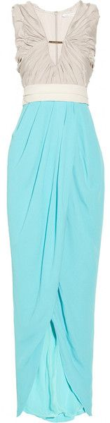 Darleena Washedsateen and Crepe Wrapeffect Maxi Dress - Lyst