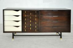 Harvey Probber Woven Front Sideboard | From a unique collection of antique and modern credenzas at https://www.1stdibs.com/furniture/storage-case-pieces/credenzas/