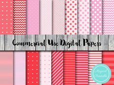Pink Digital Papers Pig Love Valentines Instant by MagicalStudio