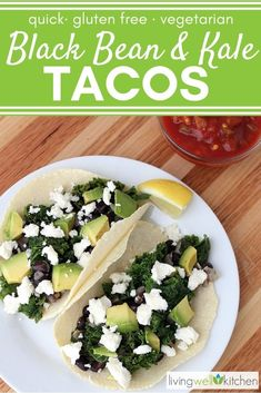 Black Bean and Kale Tacos might make you fall in love with kale! Vegetarian or vegan tacos that are delicious, easy and quick, filled with veggies. Made with corn tortillas, these gluten free tacos are a great healthy recipe for a fast dinner. Vegetarian Tacos, Healthy Tacos, Vegetarian Recipes, Healthy Recipes, Vegan Tacos, Healthy Meals, Lunch Recipes, Breakfast Recipes, Dinner Recipes