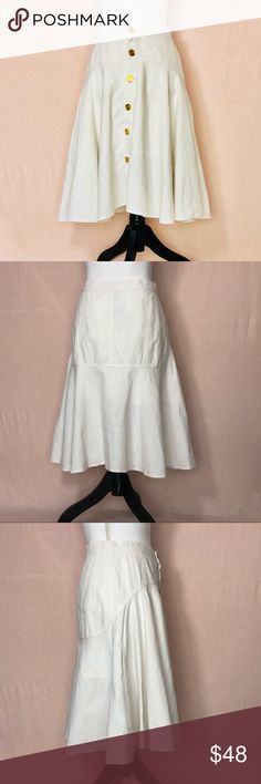 MaxMara • White Linen Blend A Line Skirt 8 MaxMara • White Linen Blend A Line Skirt 8 Gold Button Front (Anchor Buttons) Flouncy& Lightweight   80% Linen, 20% cotton  Size US 8/UK 10  *Waist 14.5 *Length 23.5 (Back) 22 (Front)  Condition: Excellent  Flaws: two small stains (photographed)   Feel free to make an offer, or bundle your likes and I'll send you an offer with an exclusive discount!!     *all measurements are while item is laying flat& are approximate. thank you for your…