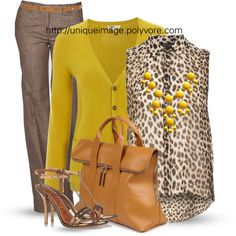 A fashion look from February 2013 featuring Hobbs cardigans, Alberto Biani pants and Lanvin sandals. Browse and shop related looks. Classy Outfits, Fall Outfits, Casual Outfits, Cute Outfits, Fashion Outfits, Womens Fashion, Fashion Trends, Yellow Outfits, Work Fashion