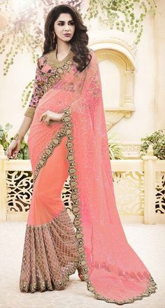 723627 Pink and Majenta  color family Party Wear Sarees in Faux Chiffon,Satin fabric with Border,Moti work   with matching unstitched blouse.