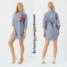 Blue Embroidered Oversized Shirt size 8/10 12/14 #7500 www.questworld.com.ng  Nationwide Delivery  Pay on delivery in lagos