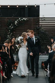 Urban chic wedding ceremony with earthy decor | Image by Jonnie + Garrett
