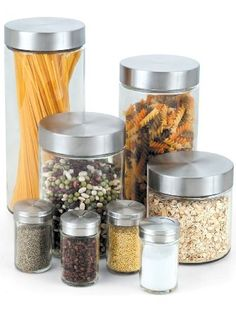 Cook N Home Glass Canister and Spice Jar Set, 8-Piece ❤ Neway International Housewares